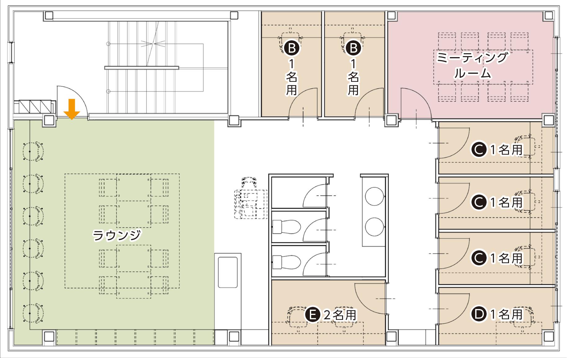 レンタルスペース2Fフロアマップ